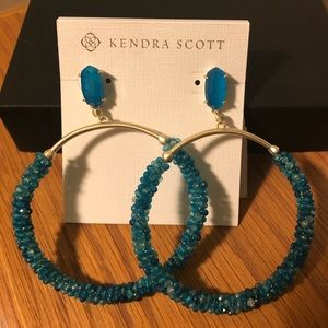 Kendra Scott Russel Blue Agate Hoop Earrings